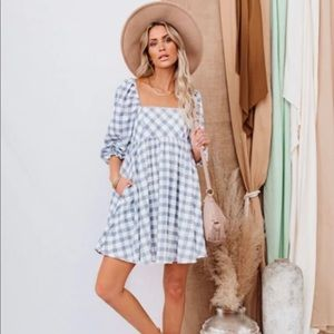 Vici Collection blue checkered pocketed dress